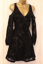 Karen Millen Black Devore Cut Cold Shoulder Fringe Cocktail Party Dress 6 to 16