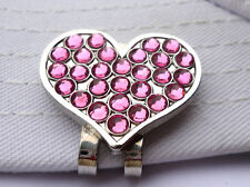 Heart Golf Ball Marker with Pink Crystals and Magnetic Hat Clip