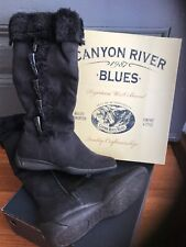 *NEW* Canyon River Blue Furry Women Long Boots, size 6 1/2 Med, Black, NWB