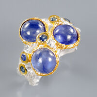 Blue Sapphire Ring Silver 925 Sterling Unique Fine Art  Size 8 /R139737