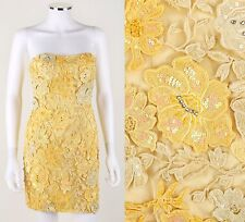 SHERRI HILL YELLOW FLORAL EMBELLISHED STRAPLESS SHORT MINI PROM PAGEANT DRESS 0