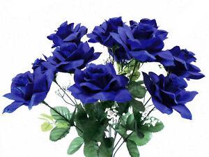 """DARK BLUE Open Roses Bush Artificial Silk Flowers 20"""" Bouquet 12-293 BL"""