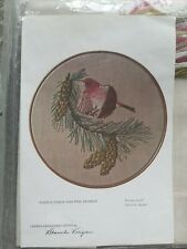 Purple Finch and Pine Branch Crewel Embroidery Kit by Blanche Virgien Vintage