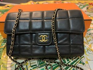 Authentic vintage Chanel black calfskin mini shoulder bag, Perfect condition