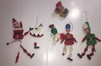 Rare Vintage Jointed Composition Wood Elf Lot & other Wood Ornaments Need Repair