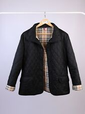 Women's Burberry London Black Nylon Quilted Coat Jacket Size XL