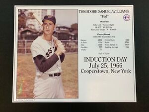 TED WILLIAMS BOSTON RED SOX 8X10 HALL OF FAME INDUCTION DAY CARD - PRINT ERROR