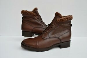 NEW W.BOX CLARKS HAYRIDE ELM BROWN LEATHER LACE UP BIKER STYLE ANKLE BOOTS UK 5D