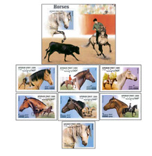 AFG99112 Horses 6 + block + stamp from the block POSTES LAO 1999