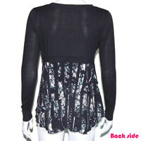 Club Monaco Lovely Layered Knit Top and Silk Floral Constrast Blouse Black - S