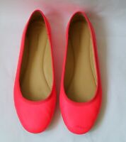 SCANLAN THEODORE Womens Leather Ballet Flat Shoes Neon Pink SIZE 39 Designer