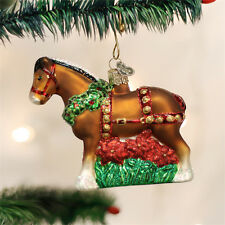Holiday Clydesdale Horse Glass Ornament
