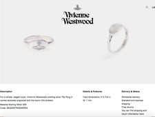 Vivienne Westwood Tilly Silver Orb Signet Ring (925 Sterling Silver) Size M