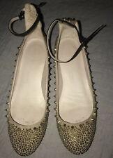 Zara Nude Gold Studs Spike Tango Ankle Buckle Low Block Heels 9 M 40 EUC