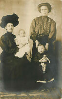 Postcard RPPC Woman, Mother-in-law and Children