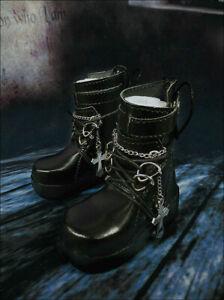 1/4MSD 1/3SD BJD Shoes Short Boots PUNK Style Metal Cross&Chain Deco Black AOD