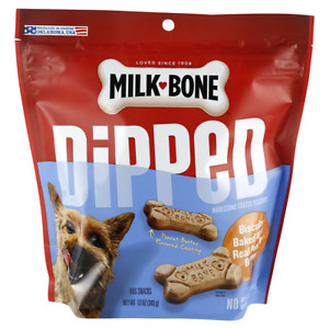 Milk-Bone DIPPED Biscuits Baked With Real Peanut Butter Dog Treats 1-12 oz Bag