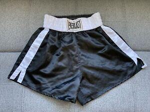 VTG EVERLAST Boxing Trunks White BlackPolyester Satin Shorts XL Classic Label