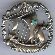 VINTAGE MEXICO STERLING TURQUOISE GLASS OLD VIKING SHIP SEAHORSE MAST PIN BROOCH