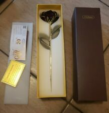 ZJchao Gifts Long Stem Dipped 24k Gold Trim Red Rose In Gift Box