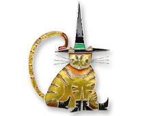 Zarah POINTY HAT CAT PIN Silver Plated Enamel HALLOWEEN - Gift Wrapped Box