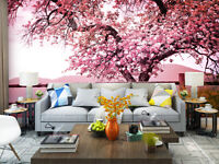 3D Pink Blossom Cherry Tree Wall Mural Wallpaper Photo Painting for Room Decor