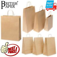 BROWN PAPER BAGS WITH HANDLES SMALL LARGE 100 50 25 FOR PARTY GIFT SWEET CARRIER
