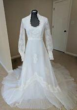 Vintage Antique Wedding Dress White Beaded Victorian Lace Pleated Train A-Line