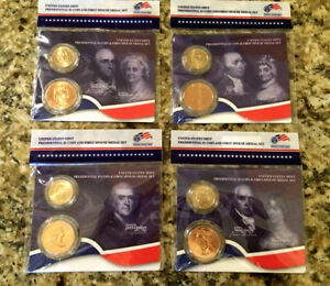 All 4 2007 FIRST SPOUSE MEDALS & PRESIDENTIAL $1 Coin US MINT Lady Set * Gem BU