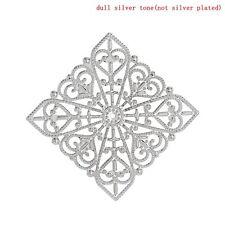 SIlver tone big square Filigree Component - pack of 10
