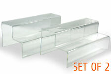 "2x Clear glossy Acrylic 2 steps level display Riser Stand Shelf Plinth 10""Lx 5""D"