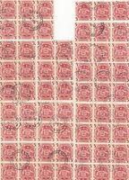Stamps Australia 1949 Arms issues 5/- red x 61 in 8 fine used blocks and strip