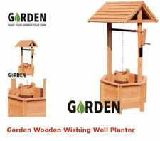 Garden Wooden Wishing Well Planter  ornament gift present woo box plants mum nan