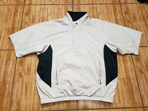 FootJoy DryJoys Tour 1/2 Zip Jacket Windbreaker Golf Beige Men's Size Large