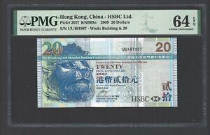 Hong Kong 20 Dollars 1-1-2009 P207f Uncirculated Grade 64