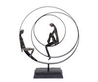 Skulptur Freundschaft Abstrakte Deko Figur Bronze Metall Partnerschaft Kunst