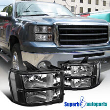 For 2007-2013 GMC Sierra Pickup Black Headlights Head Lamps Replacement