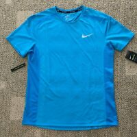 Nike Breathe Mens Short Sleeve Running Top Shirt Teal Blue Size Large AT3923-482