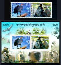 2012 Bangladesh, monkey, birds of prey, 2 stamps +  souvenir sheet, MNH