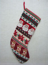 Vintage Needlepoint Christmas Stocking - Mistletoe, Santa & Teddy Bear Design