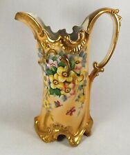 "Large Antique Porcelain Pitcher Handled Hand Painted Flowers Gold Trim 11 3/4"" T"