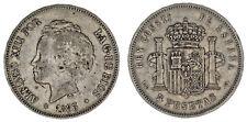 5 SILVER PESETAS-5 PESETAS PLATA. DURO. MADRID ALFONSO XIII. 1893* PGV. VF/MBC.