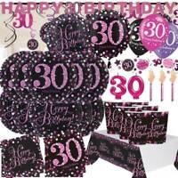 AGE 30 Happy 30th Birthday BLACK & PINK Sparkle Party Range  Banners Decorations