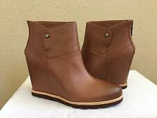 UGG AMAL CHESTNUT SHEEPSKIN LEATHER WEDGE ANKLE BOOTS US 7.5 / EU 38.5 / UK 6