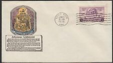Arkansas Centennial #782-12 Anderson Hand Colored FDC Little Rock. Unaddressed