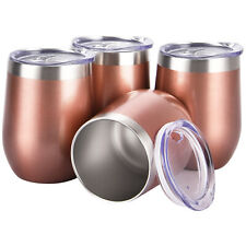 4 pack 12oz Stainless Steel Stemless Wine Glass Tumbler Set with Lids Rose Gold