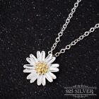 Daisy Pendant Necklace Silver 925 Sterling Sunflower Chain Flower Jewellery Lady