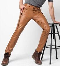 2019 New Men Genuine Leather Pants Mens Winter Slim buffalo skin Fashion pants