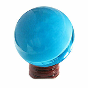 NEW Aqua Blue Crystal Ball 50mm with Wood Stand - US Seller!