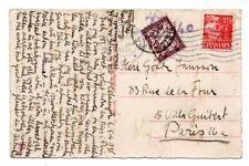 DENMARK: Postcard to France 1935, postage due.